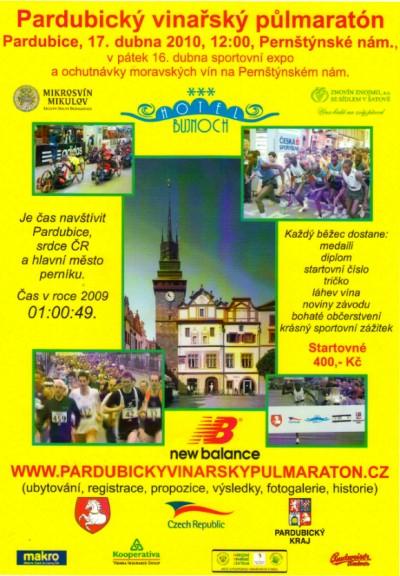 Pardubický vinařský půlmaraton 2010 již 17. dubna