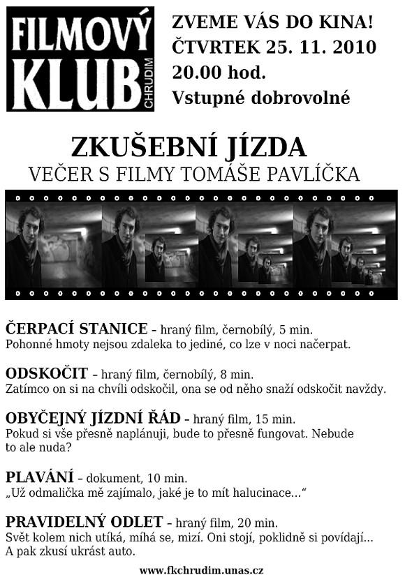 Filmový klub - Večer s filmy Tomáše Pavlíčka