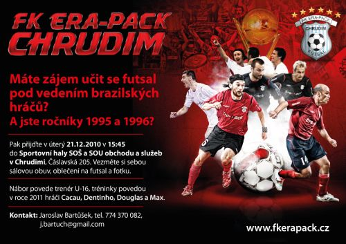 Jste-li ročník 1995 a 1996 a máte zájem učit se futsal pod vedením brazilských hráčů, přijďte v úterý 21. prosince v 15:45 hodin do tělocvičny SOŠ a SOU obchodu a služeb v Chrudimi, Čáslavská 205.