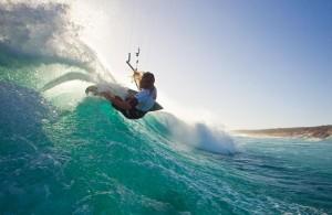 Kitesurfing wave riding