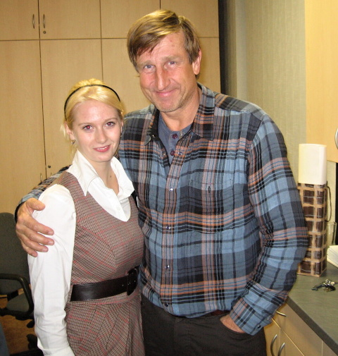 Redaktorka Dominika Podvolecká s Václavem Vydrou