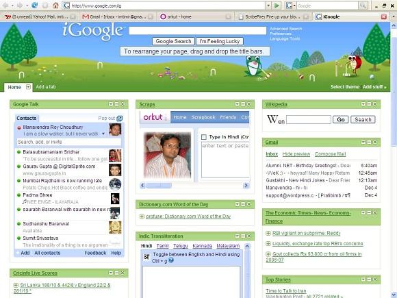 iGoogle - ukázka stránky