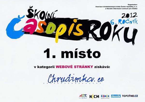 1. místo v soutěži Školní časopis roku 2012
