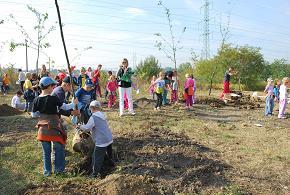 Děti vysazují stromy
