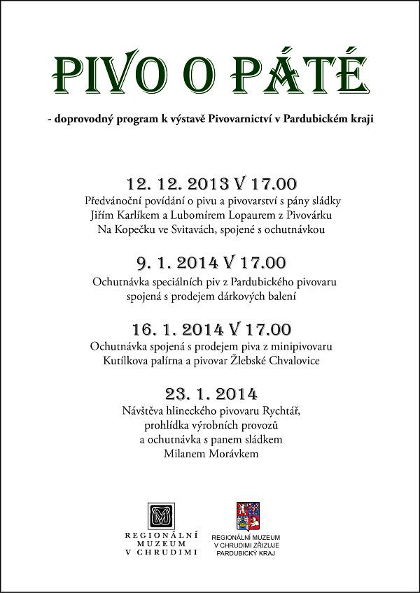 Pivo o páté - doprovodný program na prosinec 2013 a leden 2014 k výstavě Pivovarnictví v Pardubickém kraji