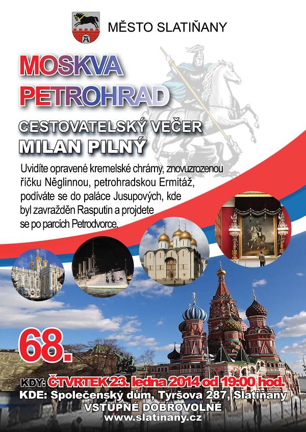 68. cestovatelský večer tentokrát z Moskvy a Petrohradu, plakát akce