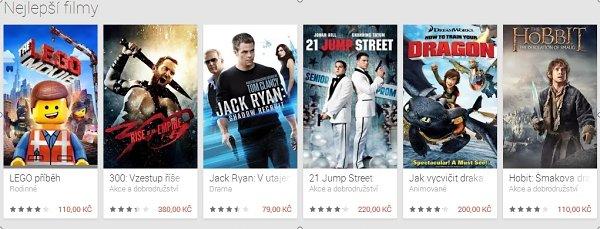 Google Play konečně uvolnil sekci Filmy i pro Českou republiku