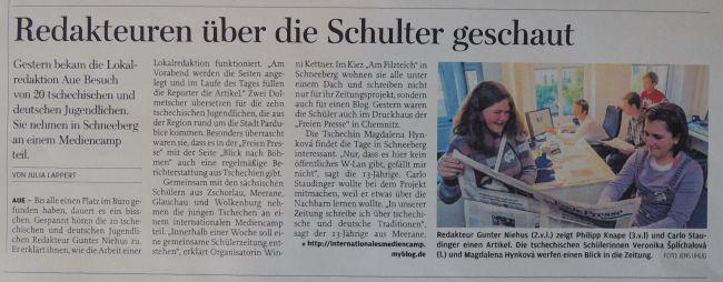 O návštěvě píší v Německu ve Freie Presse