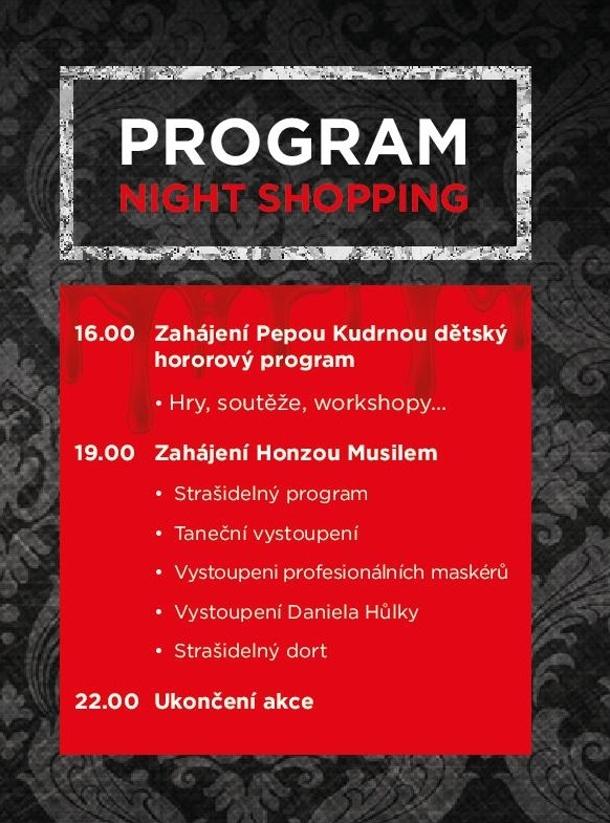 Night shopping v hororovém stylu v Paláci Pardubice