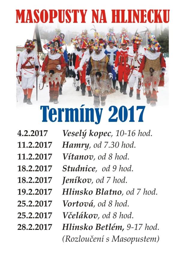 Termíny masopustů na Hlinecku 2017