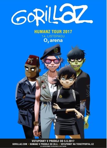 Gorillaz vystoupí v rámci Humanz Tour v Praze