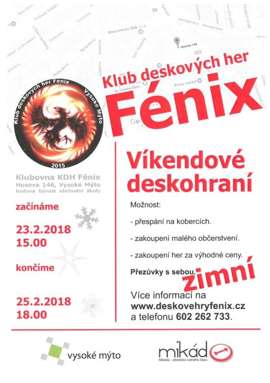 Fénix - víkendové deskohraní 2018 plakát únor
