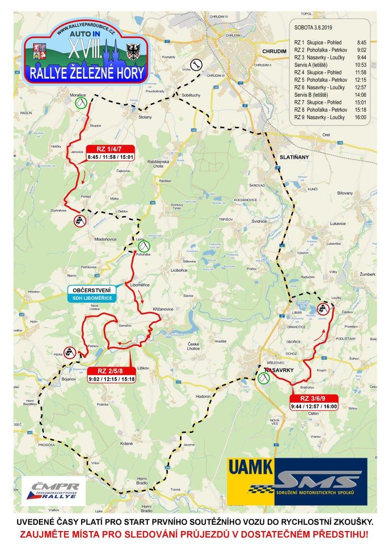 Rallye Železné hory 2019 mapka závodu