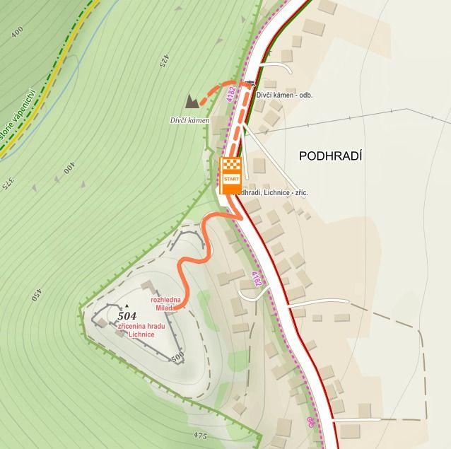 Mapa s trasou výletu Na zříceninu hradu Lichnice a vyhlídku Dívčí kámen