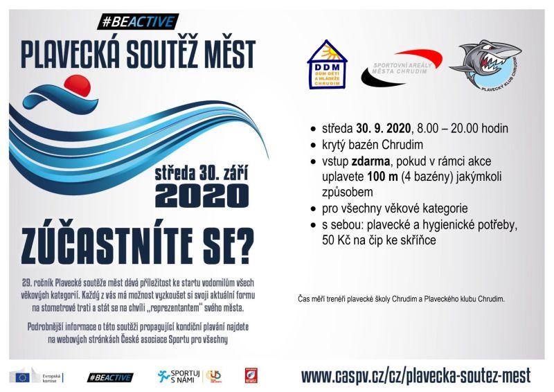 Plavecká soutěž měst - plakát